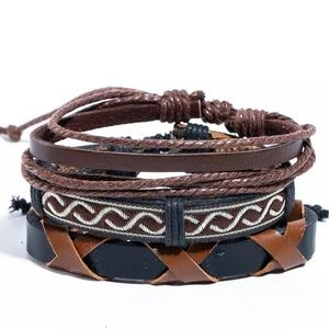 Leather Bracelets Set Vintage Style